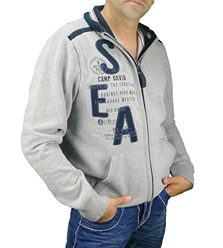 Camp David Sweatjacke CCB-1708-3722 grey melange Heavy Storm (L /52)