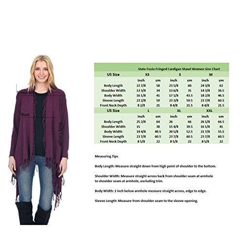 State Fusio Donna lana cachemire in lana cashmere casuale maglia fantasia frange scialle Cardigan Premium Qualità premium Nero