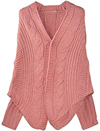 chinkyboo Womens Knitted Cardigan Batwing Outwear Loose Sweater Coat Tops - Beige