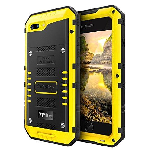 Beeasy Handy Case kompatibel mit iPhone 7 Plus/8 Plus Wasserdicht-Handyhülle Outdoor Stoßfest Militärstandard Schutzhülle mit Displayschutz Metall Bumper Schutz Stürzen Stößen Heavy Duty Hülle,Gelb