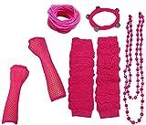 A-Express Mujer Chicas Calentador de Pierna Collar Pulsera Caucho Guantes para Tutu Fiesta Disfraces - Rosa Caliente