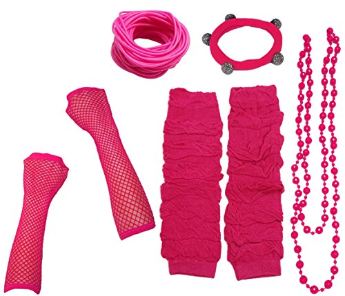 Bunte 80's Kostüm - A-Express 80er Damen Neon Beinstulpen Handschuhe Halskette Shamballa Tüll Fluo Ballett Verkleidung Party Tutu Kostüm Set