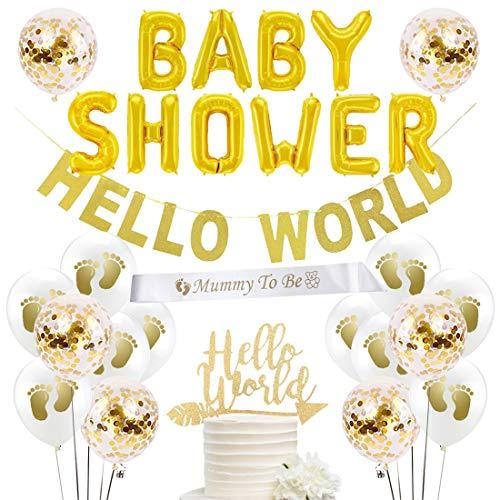 Fangleland Hallo Welt Baby Shower Dekorationen Gold Party Supplies Geschlecht Neutral für Jungen oder Mädchen mit Hallo Welt Banner und Cake Topper Baby Shower Letter Banner