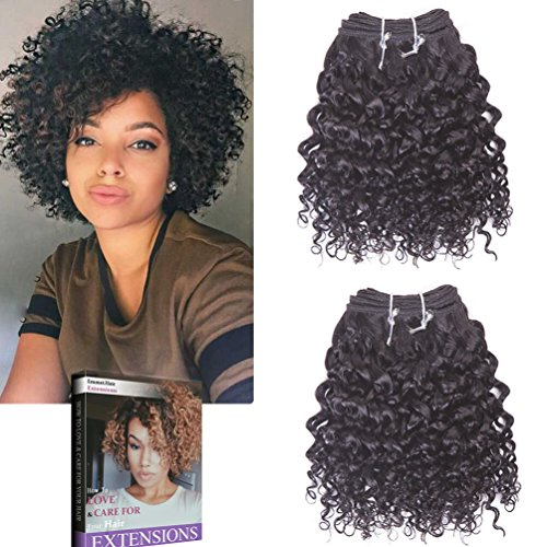 Emmet 8pollice extension capelli veri ricci corto umani brasiliani naturali ondulato remy kinky curly donna afro 50g/pezzo 2pezzo(i)/pacco(1b#)