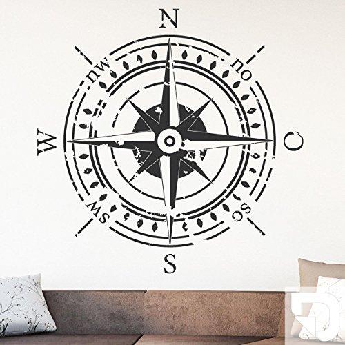 DESIGNSCAPE® Wandtattoo Himmelsrichtungen | Wandtattoo Kompass 58 x 58 cm (Breite x Höhe) weiss DW807374-S-F5 (Kompass-folie)
