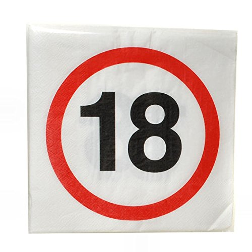 Serviette 33x33cm zum 18 Geburstag Inhalt 12Stück (Buffet-tisch Zum Verkauf)