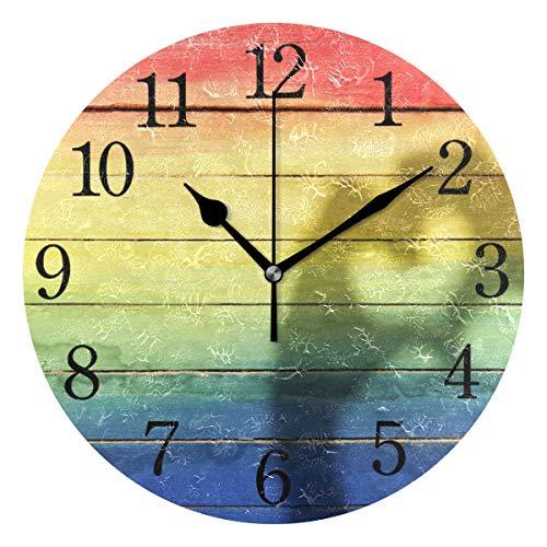 WowPrint Regenbogen Gay Pride Herz Muster Wanduhr Arabisch Ziffer, Leise, Ohne Ticken, Runde Wanduhren, Wohnaccessoires, Wohnzimmer, Badezimmer, Schlafzimmer, Küche, Büro Deko