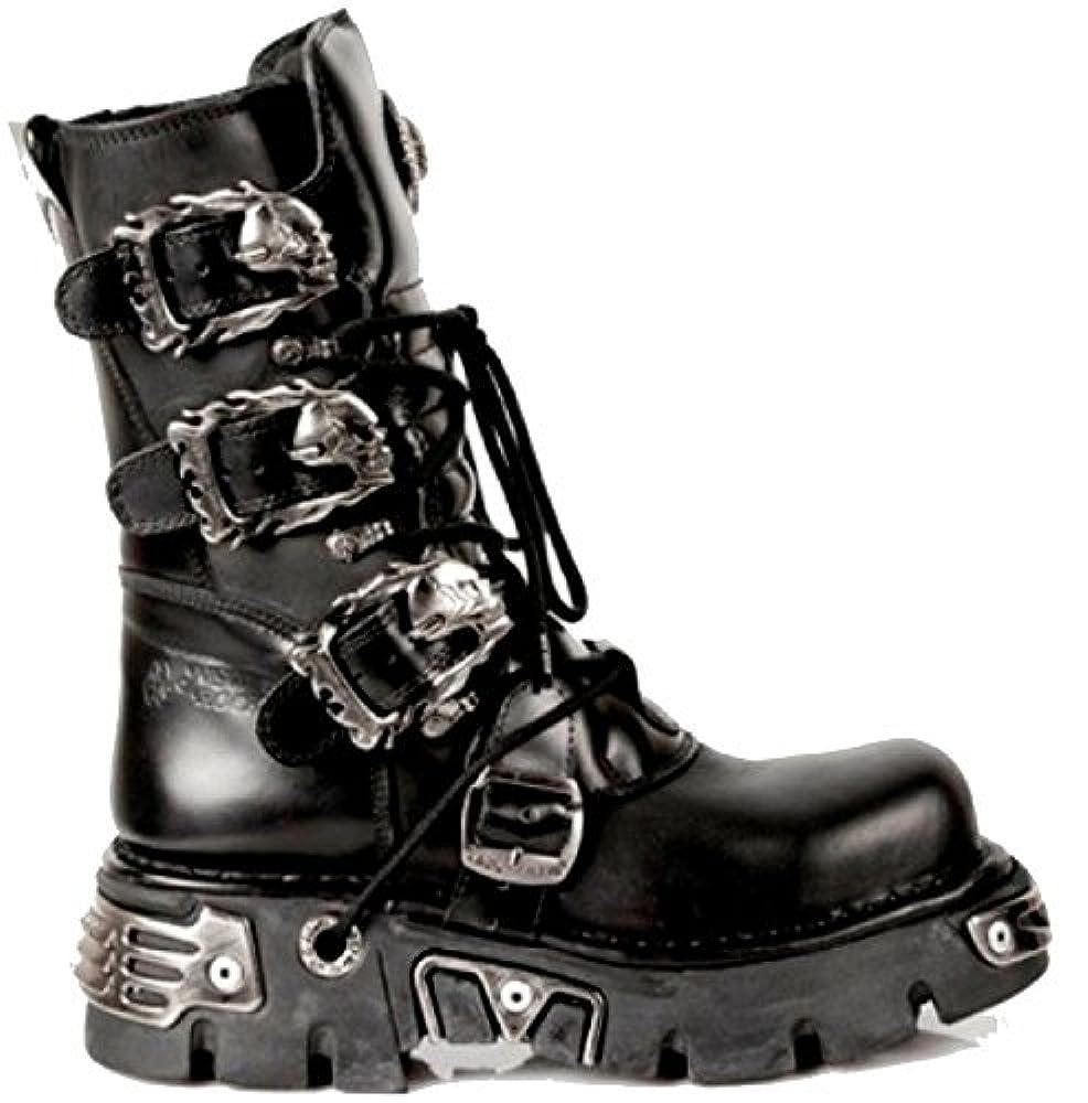 Neue Rock Unisex Schwarze Kalb LŠnge Stiefel mit SchŠdel Schnallen - Flammende SchŠdel Designs