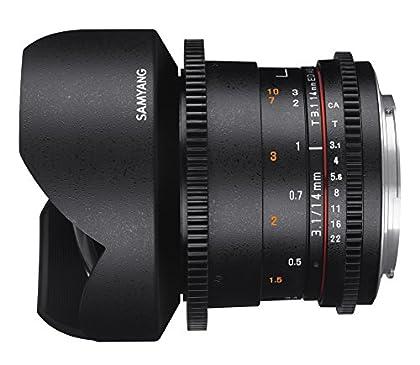 Samyang F1312603101 - Objetivo para vídeo VDSLR para Nikon F (Distancia Focal Fija 14mm, Apertura T3.1-22 ED AS IF UMC II), Negro