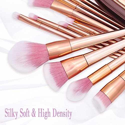 Makeup Brush Set, Diolan 12pcs Beauty Brushes Premium Soft Synthetic Powder Foundation Blending Concealer Eyeshadow Essential Cosmetic Kit for all Women, with Portable Pu Case (Rose Gold)
