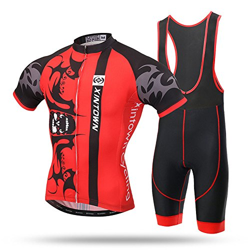 28f03002f GWJ Men Cycling Jersey Mezza Manica Racing Team Bici Traspirante Top + Set  Salopette da Bicicletta
