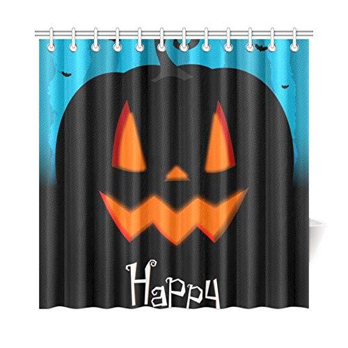 ad Vorhang Halloween Karte Happy Halloween Polyester Stoff Wasserdicht Duschvorhang Für Badezimmer, 72X72 Zoll Duschvorhang Haken Enthalten ()
