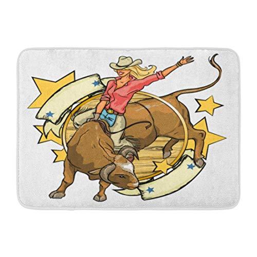 Bad Teppiche Outdoor/Indoor Fußmatte Mädchen Rodeo Cowgirl Reiten Bull Raum westlichen Vintage Bar amerikanischen Badezimmer Dekor Teppich Badematte ()