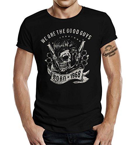 GASOLINE BANDIT® T-Shirt Original Biker Rockabilly Design Zum 50. Geburtstag: Born 1968 L (Geburtstag Mann, T-shirt)