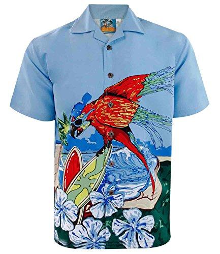 Mens-TrueFace-Hawaiian-Funky-Parrot-T-Shirt-Green-L