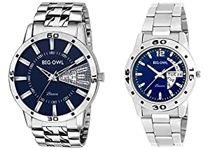 Bigowl Analogue Blue Round Dial Couple Combo Watch For Men And Women -200Co07-Blu-Pur