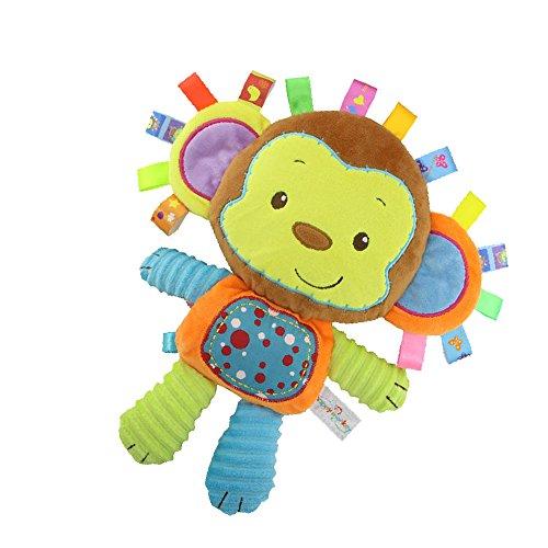 Inchant Singe taggie Blanket d'activité et sensorielle Toy cadeaux bébé pour bébé nouveau-nés, nourrissons, Lovey Peluche - Clam vers le bas et jouer à votre bébé, Bébé taggy Jouet
