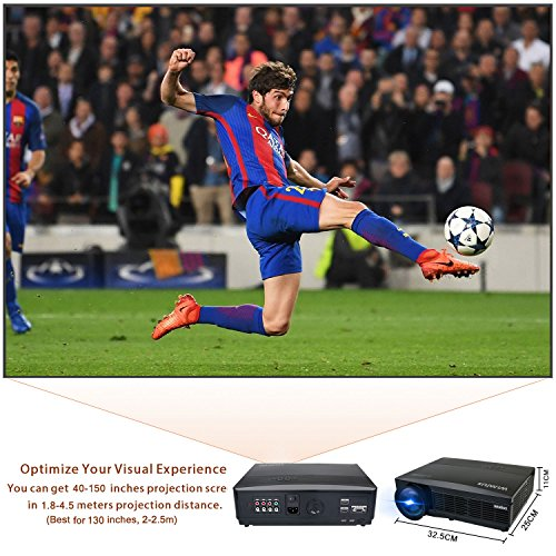 Vidéoprojecteur, Retroprojecteur Full HD 3300 Lumens 1080P Video Projecteur LED WiMiUS T6 Projecteur LCD Home Cinema Compatible avec 1920*1080 Dual HDMI Dual USB VGA SD pour PC PS4 Xbox iPhone Smartphone Noir