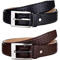 MarkQues Men's Black And Brown Leather Belt Combo (URB-2201 URB-02) (Set Of 2)