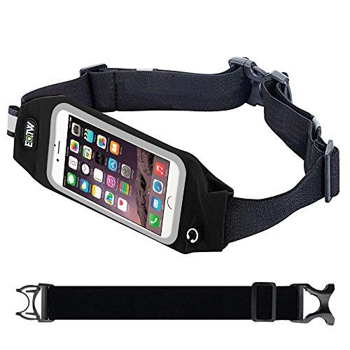 Marsupio Sportivo,EOTW Marsupio con Cntura Running per Smartphone iPhone Samsung Huawei LG da Correre Corsa Palestra Alpinista Ciclismo Anti sudore Riflettente Finestra Trasparente (5,5 inch Nero)