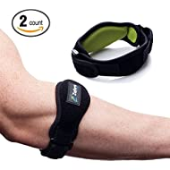 Tennis Elbow Brace Support With Compression Pad (2-Count) - Effective Pain Relief for Tennis & Golfers Elbow for Men & Women