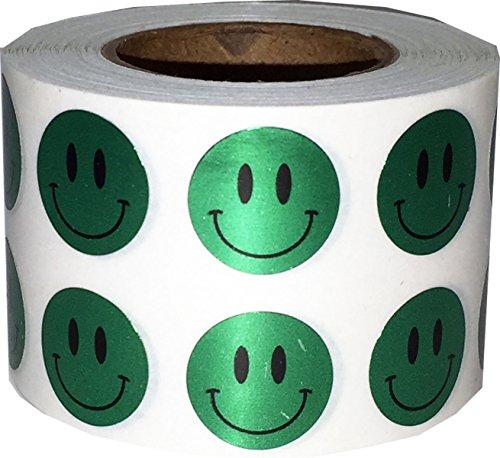 Brillante Verde Smiley Cara Circulo Punto Pegatinas, 13 mm 1/2 Pulgada Redondo, 1000 Etiquetas en un Rollo