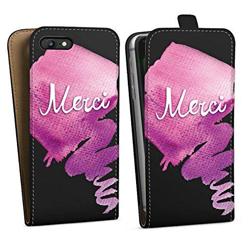 Apple iPhone 8 Silikon Hülle Case Schutzhülle Merci Danke Französisch Downflip Tasche schwarz