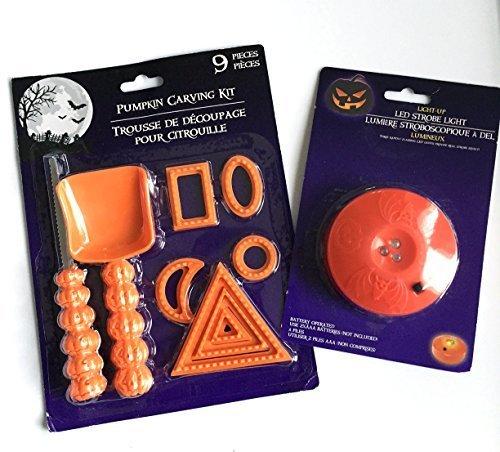 Bundle 9Stück Pumpkin Carving Kit Werkzeug Set Halloween Party Schablonen Cutter Schaufel und 1LED-Stroboskop (Für Kürbisse Beängstigend Halloween-gesichter)