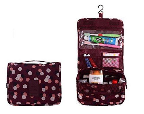 ODN Vin rouge Hanging sac fleur de cas organisateur cosmétique imprimé stockage maquillage Voyage toilette organisateur sac de lavage