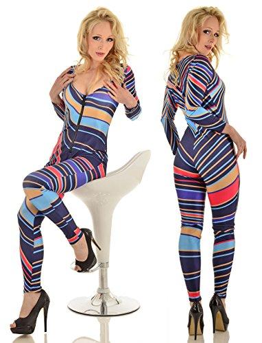 Muster Kostüm Disco Tanz (Comor Overall Bodysuit Jumpsuit Streifen Muster bunt)