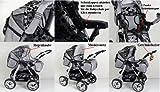 3 in 1 Kombikinderwagen Komplettset VIP – inkl. Kinderwagen, Babyschale und Sportwagen Aufsatz – 1. ALU Hartgummi Bereifung – 33. Schwarz - 6