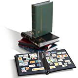 Leuchtturm 304065 Briefmarken-Sammel-Album, Einsteckbuch Premium, DIN A4, 32 Schwarze Seiten, wattierter Ledereinband, blau