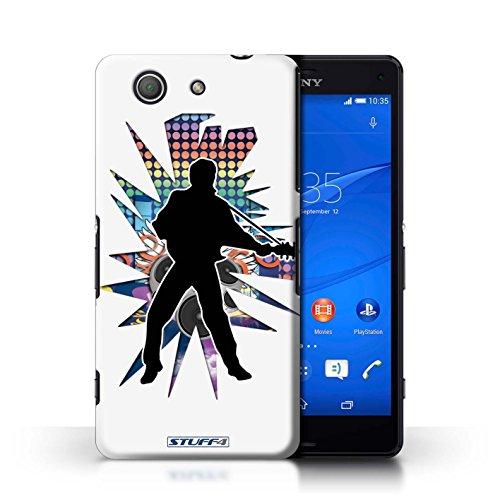 Kobalt® Imprimé Etui / Coque pour Sony Xperia Z3 Compact / Windmill Noir conception / Série Rock Star Pose Elvis Blanc