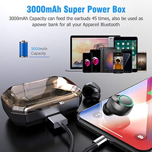 Bluetooth Kopfhörer Muzili V5.0 Bluetooth Kopfhörer in Ear, TWS Hi-Fi Bluetooth Headset kabellos IPX5 Wasserdicht Kopfhörer mit Mikrofon und 3000mAh Ladebox für Samsung Huawei Sony Black Berry HTC - 3