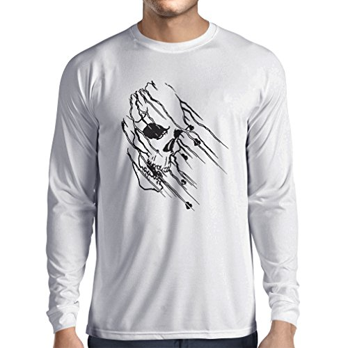 lepni.me N4686L T-Shirt Manica Lunga da Uomo Art Skull - Vintage t Shirts (XXX-Large Bianco