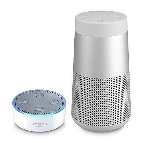 Bose SoundLink Revolve Bluetooth Lautsprecher grau inkl. Amazon Echo Dot (2. Generation), Weiss
