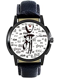 Stylee LiteAttractive Stylish Sport Look MAA Symbolic White Dial Stylish Black Leather Strap Analog Watch For...
