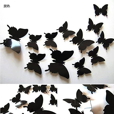 3D stereo simulazione parete Butterfly decorativi adesivi soggiorno camera da letto mobile porta TV in vetro a parete magneti da frigorifero,nero