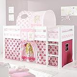 Vorhang Herzchen 3-teilig 100% Baumwolle Kinderzimmer Stoffvorhang inkl Klettband für Hochbett Kinderbett Spielbett Etagenbett Stockbett pink