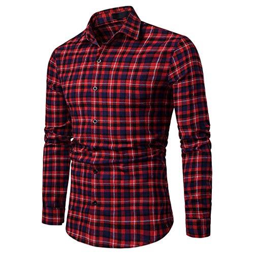 Herren Business Casual Fashion Plaid Langarm-Einreiherhemden (XL, rot)