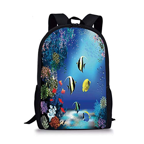 School Bags Underwater,Tropical Undersea with Colorful Fishes Swimming in The Ocean Coral Reefs Artsy Image,Blue for Boys&Girls Mens Sport Daypack -