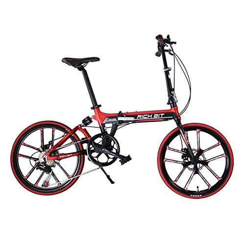KINGTTU® Klappräder BMX-Räder Rennräder Komfort-Fahrrad Schwarz Rot 20 Zoll 7 Geschwindigkeiten Magnesium integriert Rad mechanische Bremsen 2016 aktualisiert neue TP-020-451 Schwarz Rot