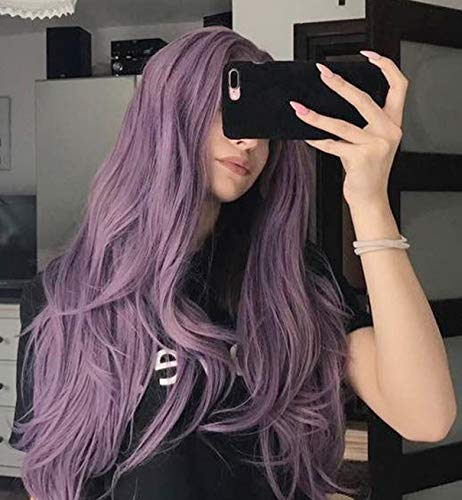 Vebonnie Halloween Flieder Kunsthaar Lila Spitzeperücken 22 Zoll Mischfarbe Lila Haar Purple Lace Front Wigs Synthetic Front Lace Wig (Perücken Halloween Beste Für)