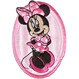 Parches - MINNIE MOUSE 'OVAL' - rosa - 8,8x6cm - termoadhesivos bordados aplique para ropa by catch-the-patch®