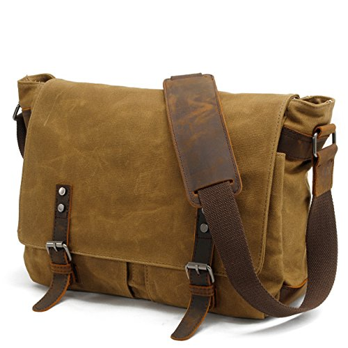 - 51YDyIrXu6L - YANGYANJING 2017 New version – High quality – 90 days Warranty – 15 Inches Large Waterproof Canvas Unisex Laptop Bag Canvas Genuine Leather Messenger Bag Travel Briefcase Crossbody Satchel Shoulder Bag