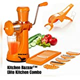 Kitchen Bazaar™ Elite Kitchen Combo - Fruit & Vegetable Manual Juicer Mixer Grinder With Steel Handle, 6 In 1 Multi-Purpose Fruit & Vegetable Slicer & Multi  Veg Cutter With Peeler - Chilly Cutter,Carrot ,Banana Cutter - Set Of 3, O