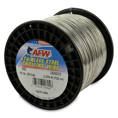 American Fishing Wire Stainless Steel Trolling Wire, 70-Pound Test/0.71mm Dia/722m
