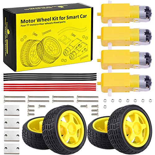 KEYESTUDIO Smart Robot Car Kit mit 4PCS Wheel, Gear Motor DC Motor Modul für Arduino Mega2560 R3 Starter Kit (Silent-dc-motor)