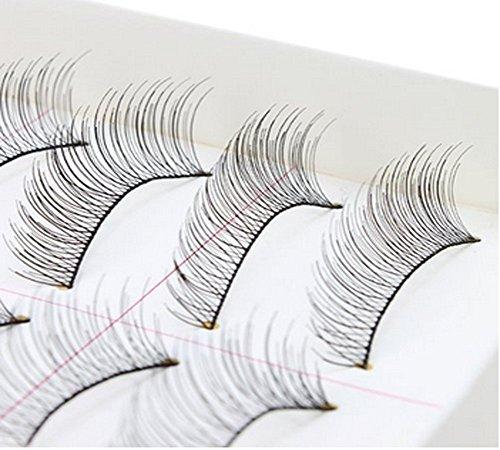 1 Boîte (10 Paires) Noir À La Main Naturel Croix Cils Faux Cils Maquillage Beauté Faux Extension de Cils pour Femmes Lady Fille