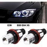 2pcs 1000LM Angel Eyes Light Car LED Bulbs Halo Ring Marker 5W 6000K White for BMW E39 E53 E63 E64 (White)